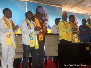 Quelques cadres et membres du PPRD, lors de la clôture du 2ème congrès de leur parti politique le 21/08/2011 au stade des martyrs à Kinshasa. Radio Okapi/ John Bompengo